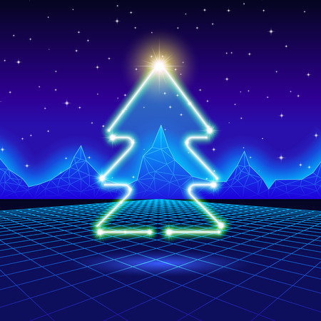 december background: Christmas card with neon tree and 80s computer background