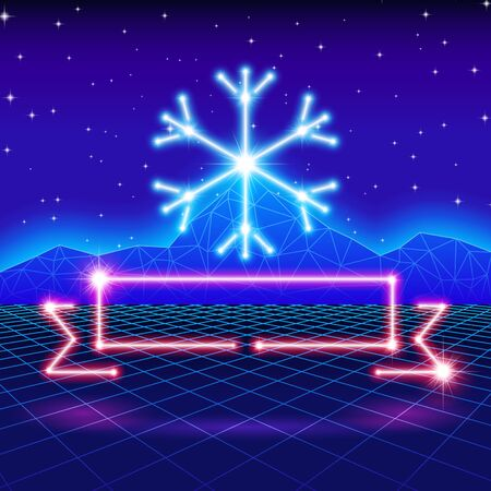 '80s: Christmas card with neon snowflake, ribbon and 80s computer background