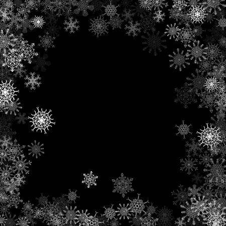 black background abstract: Snowfall with random snowflakes layers frame in the dark