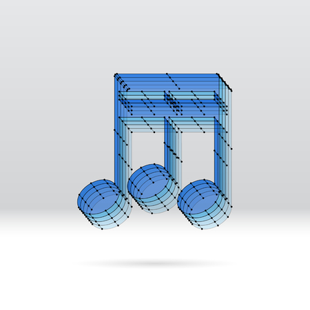 3d music: Transparent 3D music note with dotted wire scheme