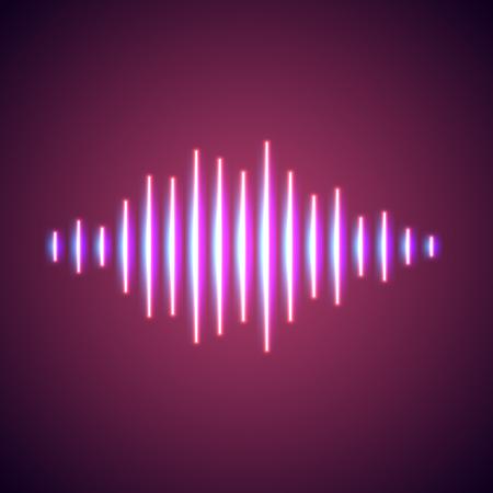 wavelength: Nightlife styled glowing neon lights music wave