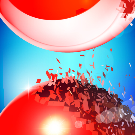 exploded: Red 3D balls with flares exploded into messy pieces