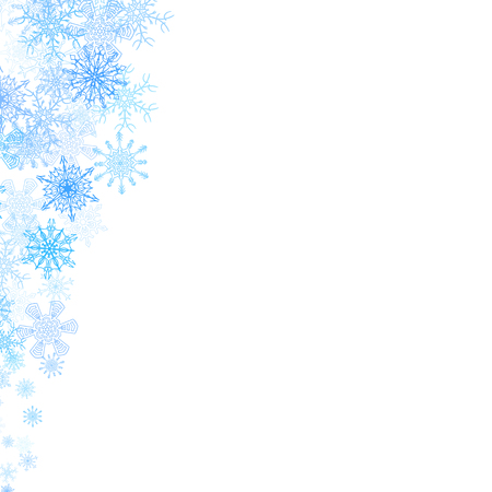 flocon de neige: coins de Noël cadre avec de petits flocons de neige bleus