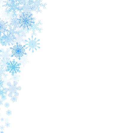 copo de nieve: esquinas del marco de la Navidad con los pequeños copos de nieve azules