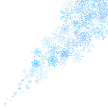 art border: Christmas blue snowflakes blizzard stream in the light