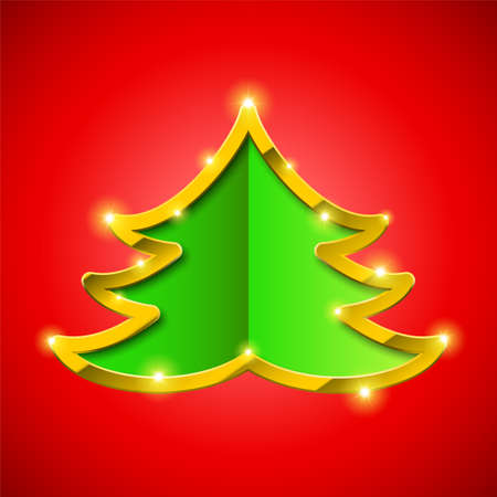 golden border: Christmas tree card with golden border and sparkles