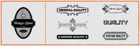 round logo: Set of vintage hipster labels on grungy card