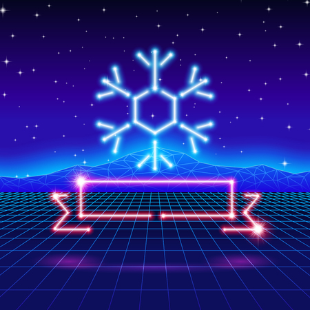 80's: Christmas card with neon snowflake, ribbon and 80s computer background
