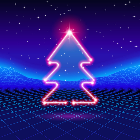 80s: Christmas card with neon tree and 80s computer background