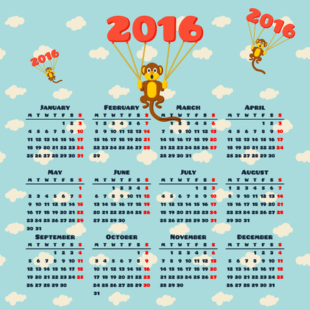 flying monkey: Calendar 2016 with monkey symbol of the year