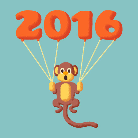 flying monkey: Monkey dotted symbol of 2016 with balloons and flat colors