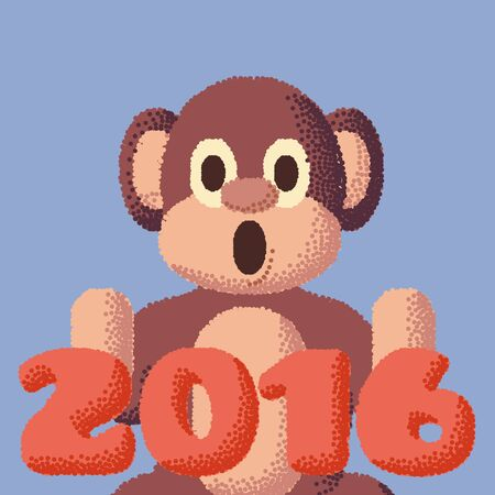 kid portrait: Monkey dotted symbol of 2016. Rose Quartz and Serenity colors