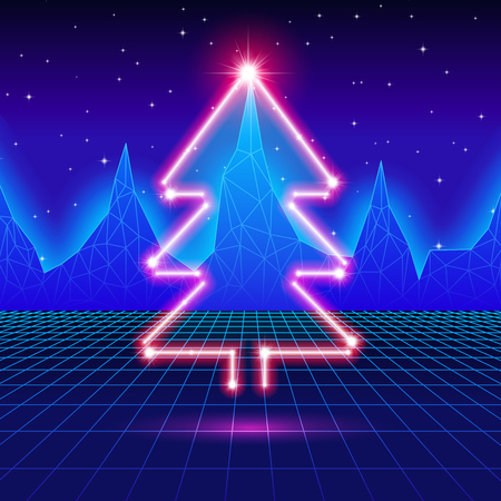 80's: Christmas card with neon tree and 80s computer background