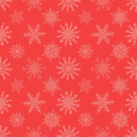 christmas snowflakes: Seamless Christmas red pattern with random drawn snowflakes