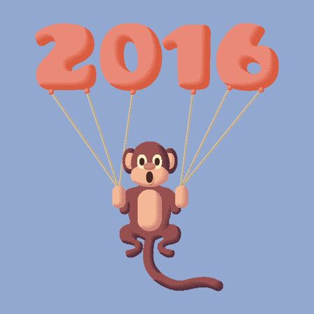 rose quartz: Monkey dotted symbol of 2016 with balloons. Rose Quartz and Serenity colors
