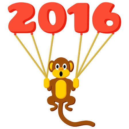 flying monkey: Monkey symbol of 2016 with balloons and flat colors