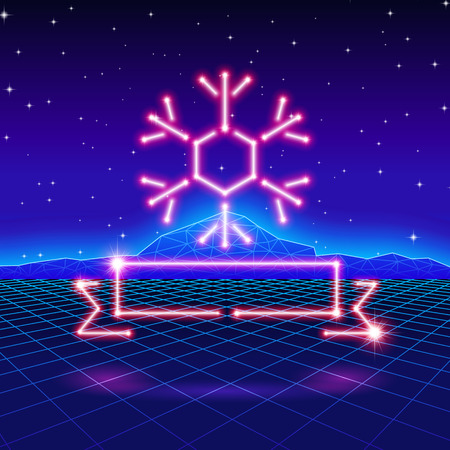 80s: Christmas card with neon snowflake, ribbon and 80s computer background