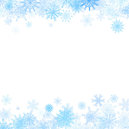 blue snowflakes: Rectangular frame with small blue snowflakes layered around