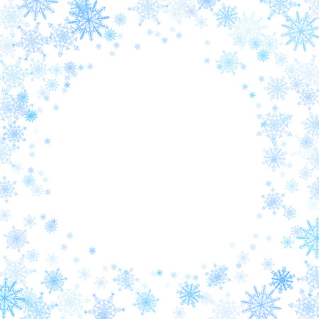 snow crystal: Round frame with small blue snowflakes layered around Illustration