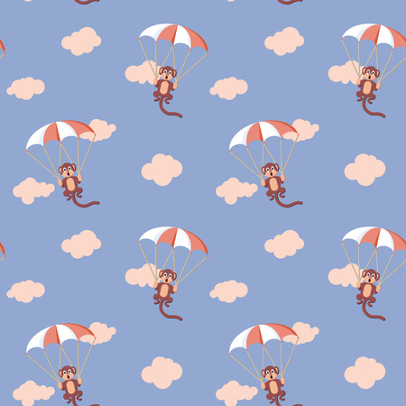 flying monkey: Pattern of monkeys in the sky with parachute. Rose Quartz and Serenity colors