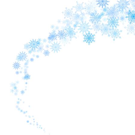 Kerstmis blauwe sneeuwvlokken blizzard beek in het licht