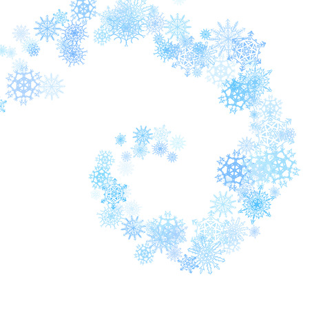 blizzard: Christmas blue snowflakes spiral stream in the light