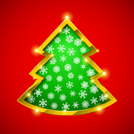 golden border: Christmas tree card with golden border and snowflakes