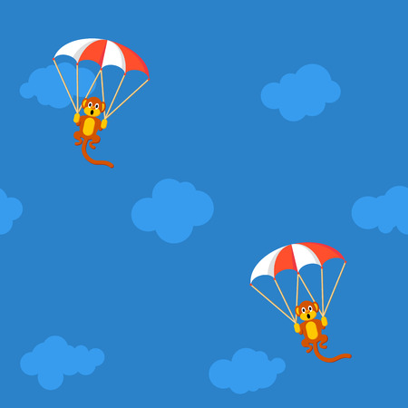 flying monkey: Pattern of monkeys in the sky with parachute