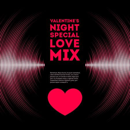 Nacht thema Valentijnsdag kaart met roze vinyl tracks en rood hart Stock Illustratie