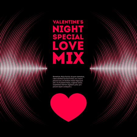 abstract music background: Night themed Valentines Day card with pink vinyl tracks and red heart