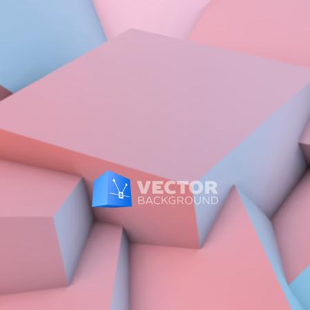 sfondo astratto con sovrapposizione Quarzo Rosa e serenità cubetti Vettoriali