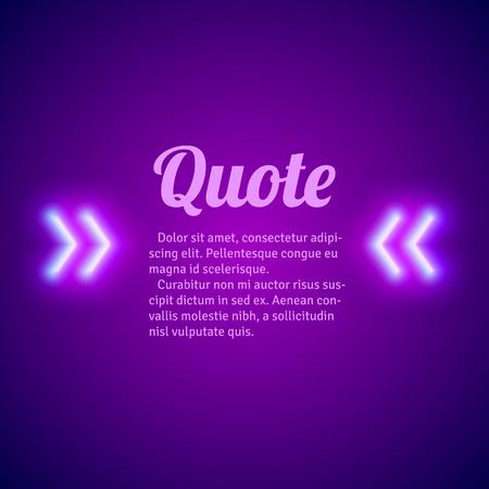 Retro hipster neon glowing quote marks frame Векторная Иллюстрация