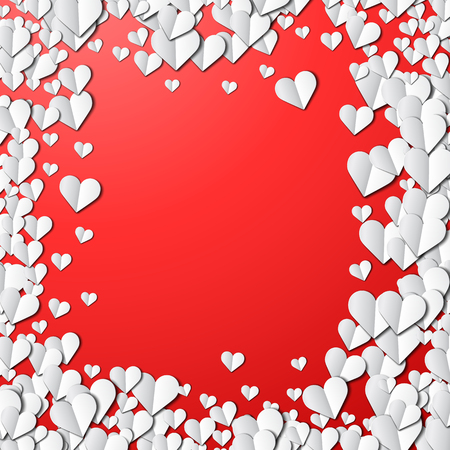 sprayed: Valentines Day card with scattered cut paper hearts