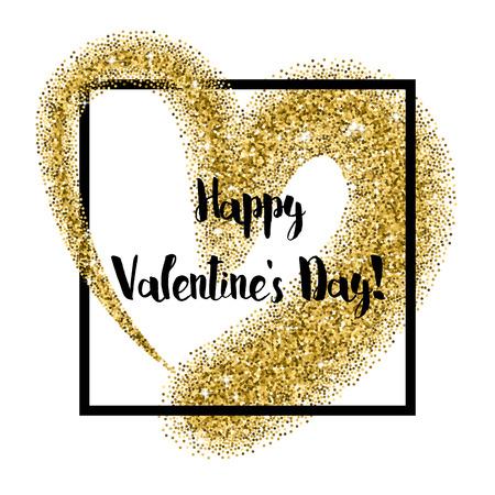 hintergrund: Glitter heart quadratische Rahmen mit Scheinen für den Valentinstag Illustration