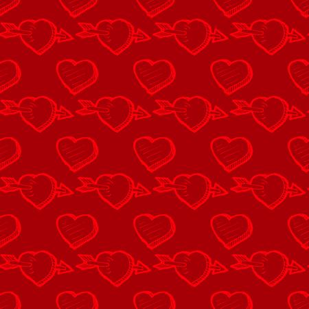 corazon en la mano: sin fisuras patrón de color rojo Día de San Valentín con bocetos del corazón