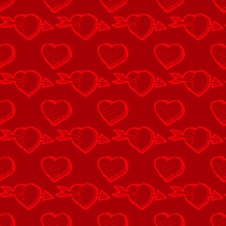 vintage texture: Valentines Day red seamless pattern with heart sketches