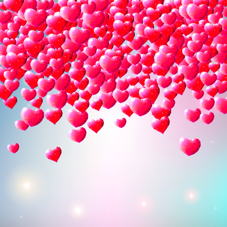 scattered: Valentines Day background with scattered low poly gem hearts Illustration