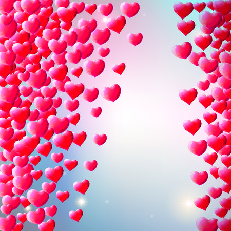 gem: Valentines Day background with scattered low poly gem hearts Illustration