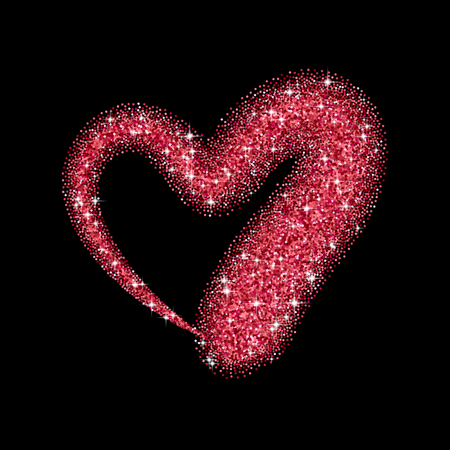 glitter makeup: Glitter heart with sparkles for Valentines Day