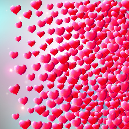 sprayed: Valentines Day background with scattered low poly gem hearts Illustration