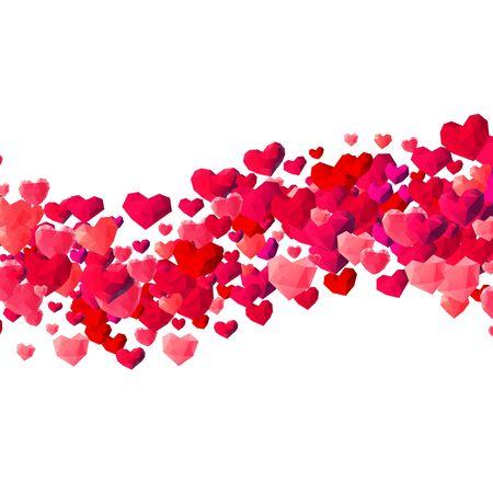 Valentinsgruß-Tageshintergrund mit zerstreuten niedrigen Polydreieckherzen