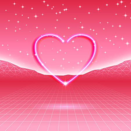 80s: 80s styled retro futuristic card with neon heart Illustration