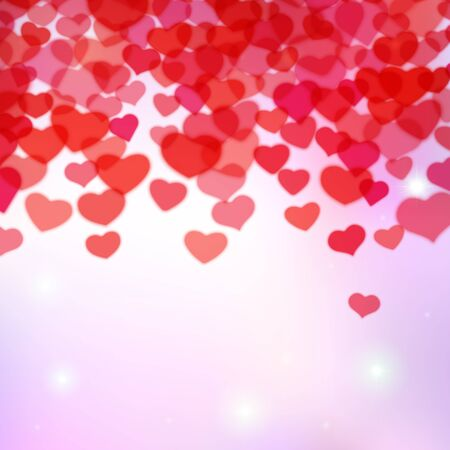 scattered: Valentines Day background with scattered blurred hearts
