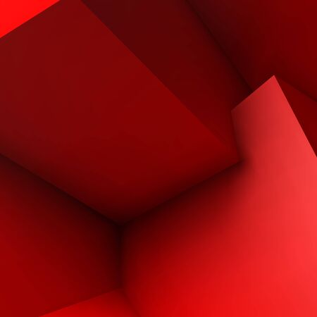 red cube: Abstract background with realistic overlapping red cubes