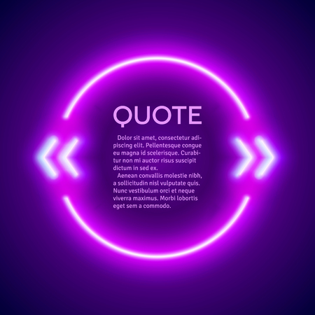 rave: Retro hipster neon glowing quote marks frame