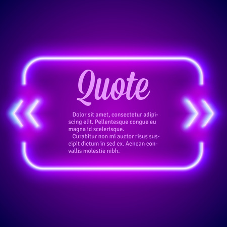 laser tag: Retro hipster neon glowing quote marks frame