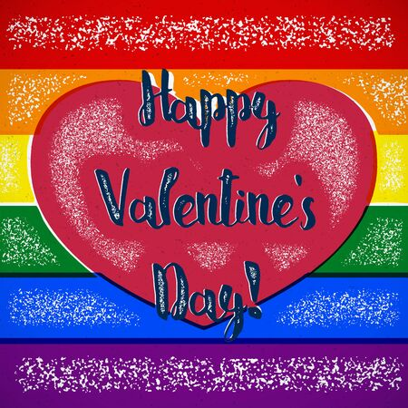 shifted: Rainbow Valentines Day card with gay heart and shifted colors