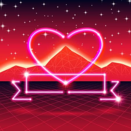 80's: 80s styled retro futuristic card with neon heart Illustration