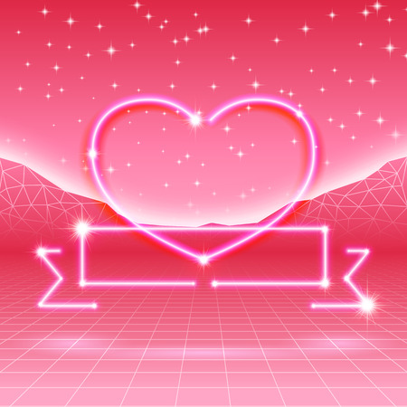 '80s: 80s styled retro futuristic card with neon heart Illustration
