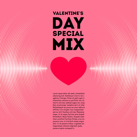 Valentine's Day card with pink vinyl tracks and red heart 일러스트